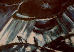 Menekülés, 1928, olaj, karton, 42x48 cm