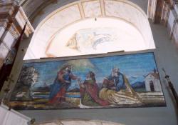 Miháld, r.k. templom, Mária és Erzsébet találkozása, falkép