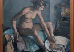 Mosakodó leány, vászon, olaj, 100x110 cm