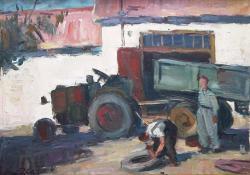 Műhelyudvar, 1946-1950, olaj, vászon, 50x65 cm
