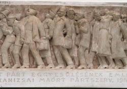 Munkásmozgalmi mártírok emlékműterve, 1948, gipsz relief, 21x45,5 cm