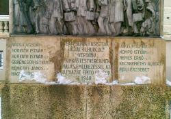 Munkásmozgalmi mártírok emlékműve, Zalaegerszeg, 1948, bronz és kő,