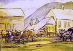 Nagybányai hetivásár, akvarell, 39x56 cm