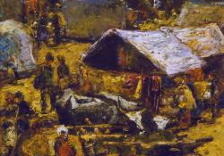 Nagyvásár Nagybányán, olaj, karton, 25x30 cm