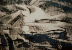 Naplemente, 1928, tus, papír, 31,5x45 cm