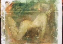 Négykézláb, 2010, olaj + vegyes techn. falemez, 23x28,5 cm