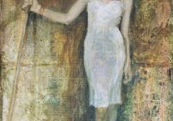 Nő gereblyével, 2012, olaj, vászon, 56x40,5 cm