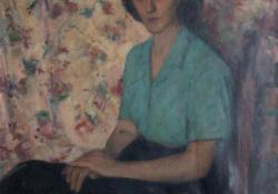 Női portré, 1946-50, olaj, vászon, 100x82 cm