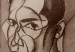 Önarckép, 1918, tus, papír, 20,5x17 cm