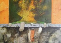 Önarckép, 2006, vegyes t, vászon, 80x80 cm