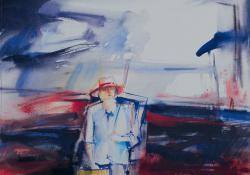 Öreg festő, 1992, akvarell, papír, 29x38 cm