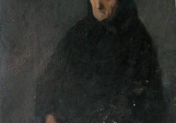 Özvegyasszony, karton, olaj, 49x49 cm