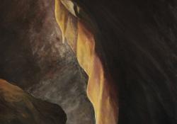"""Pál-völgyi barlang, """"Cseppkőzászló"""", 1990, vászon, olaj, 67x50 cm"""