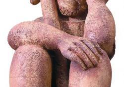 Pihenő férfi, 1985, agyagmázas samott, 50 cm