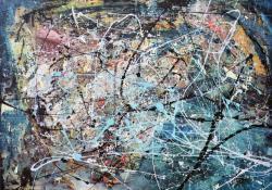 Pollock szelleme, farost, olaj, 80x120 cm