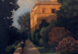 Római palota, 1931, farost, olaj, 49,5x40,5 cm