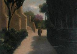 Római városrészlet, 1931, farost, olaj, 35x30,5 cm