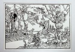 Séta a tavaszi erdőben, 1979, linómetszet, 347x500 mm