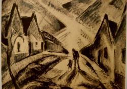 Séta az utcán, 1930, vegyes techn. papír, 60x70 cm