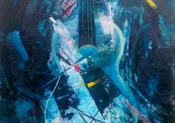Still my guitar, 2007, farost, olaj, 70x50 cm