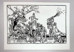 Szent Antal megkísértése, 1979, linómetszet, 315x490 mm