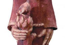 Szent Ferenc, 1993, agyagmázas samott, 87 cm