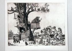 Szent Ferenc prédikál a jószágoknak, rézkarc, 290x400 mm