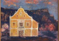 Szentgyörgyhegyi présház, 1986, olaj, farost, 29x35 cm