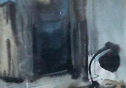 Szobabelső, 1963 előtt, akvarell, 30,5x24 cm