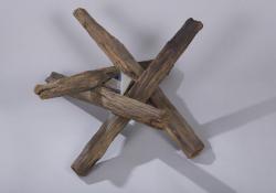 Születés, 1996, fa, krómacél, 70x70 cm