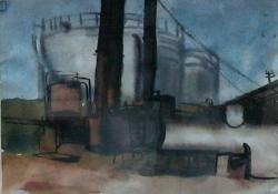 Tankállomás, 1963 előtt, akvarell, 24x30,5 cm