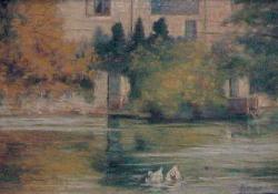 Tapolcai malomtó I, 1919-1935 között, papír, akvarell