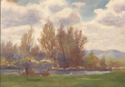 Tavaszi táj, 1930 k, akvarell, papír, 21x30 cm