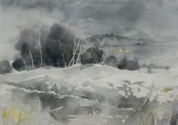 Távoli fények, 2009, papír, akvarell, 45x55 cm
