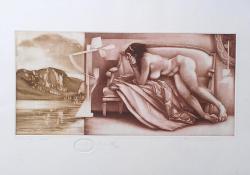 Távoli táj, 2009, papír, mezzotinto, 19x40 cm