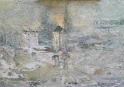 Téli nap, 2012, vegyes techn. vászon falemezen, 32,5x50 cm