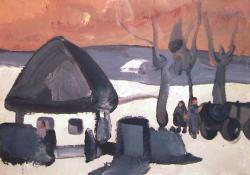 Téli táj Göcsejben, 1968, vászon, olaj, 79x61 cm