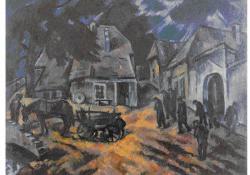 Temetés, 1928, olaj, vászon, 94x112 cm