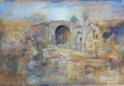 Templomrom, 2012, olaj, vászon falemezen, 30,5x35 cm