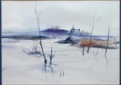 Tópart télen, 1998, akvarell, papír, 34x48 cm
