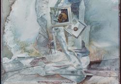 Töredékek, 1989, vegyes techn, farost, 55x54 cm