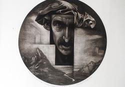 Turbános önarckép, 2011, papír, mezzotinto, átm. 30 cm