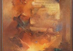 Tűzre vetett história,1998, olaj, farost, 70x50 cm