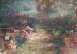 Udvar éjjel, 2011, olaj, vászon falemezen, 20x25 cm