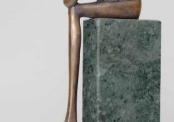 Ülő II, 2001, bronz, kő, 25 cm