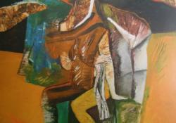 Ülő sámán, 1991, vegyes t, farost, 80x80 cm