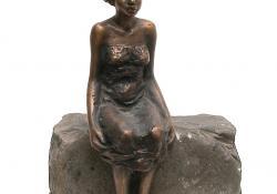 Vak kislány, 1984, bronz, kő, 24 cm