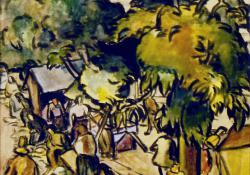 Vásári jelenet Nagybányán, akvarell, 52x42 cm