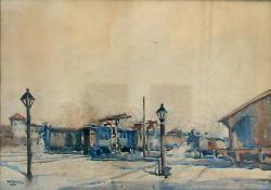 Vasútállomás, 1920, akvarell