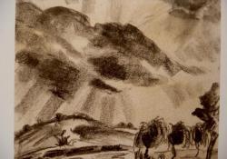Vihar után 1934, szén, papír, 23x27,5 cm